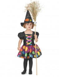 Kleine Hexe Kinderkostüm schwarz-bunt