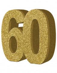 Tisch-Dekoration - Zahl 60 - Gold
