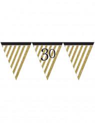 Wimpel-Girlande - schwarz gold - Zahl 30