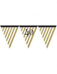 Wimpel-Girlande - schwarz gold - Zahl 40