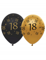 6 Luftballons schwarz & golden - Zahl 18