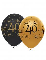 6 Luftballons 40. Geburtstag gold schwarz