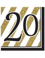 16 Papier Servietten20 Jahre