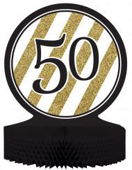 Tisch-Aufsteller - Zahl 50 - gold-schwarz