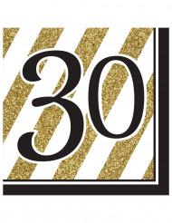 16 schwarz-goldene Papier Servietten30 Jahre