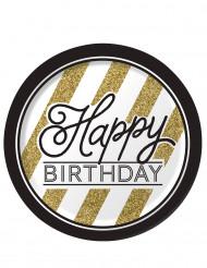 8 Pappteller - Birthday schwarz-gold