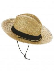 Cowboy-Hut aus Stroh für Erwachsene beige-schwarz