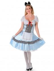 Wunderland Prinzessin Kostüm für Damen hellblau-weiß