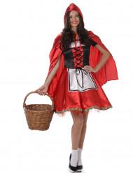 Rotkäppchen Kostüm für Damen schwarz-weiss-rot