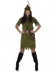 Waldfrauen Kostüm für Damen Wildlederimitat grün