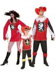 Musketier-Familienkostüm in rot für Eltern-Kind