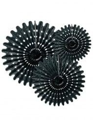3 Rosetten aus schwarzem Papier 20, 30 und 40 cm