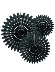 3 Rosetten aus schwarzem Papier 20 30 und 40 cm