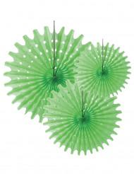 3 Rosetten aus grünem Papier 20, 30 und 40 cm