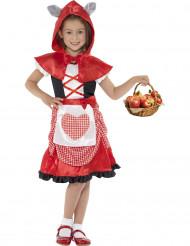 Rotkäppchen-Kinderkostüm mit Wolfsohren für Mädchen schwarz-weiss-rot