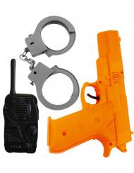 Polizei Set für Kinder 3-teilig schwarz-grau-orangefarben