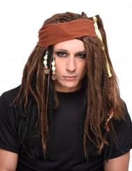 Braune und schwarze Piraten-Perücke für Herren