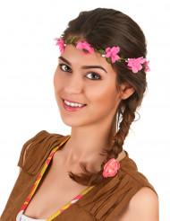 60er-Jahre Hippie-Blumenkranz für Damen grün-pink
