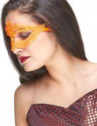 Venezianische Maske aus orangefarbener Spitze