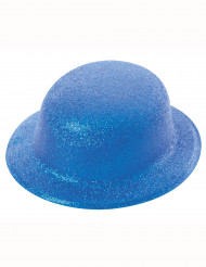 Blauer Glitzer-Hut Melone für Erwachsene