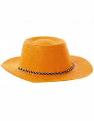 Orange Glitzer-Cowboy-Hut für Erwachsene