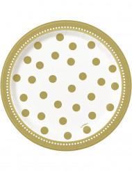 8 kleine goldene Teller