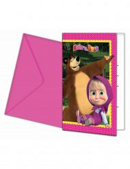 6 Mascha und der Bär™ Einladungskarten mit Umschlag
