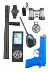 Polizei Accessoire Set für Erwachsene 8-teilig bunt