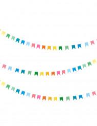 Girlande kleine bunte Fähnchen pastellfarben 2 Meter