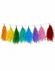 Girlande mit 16 Bommeln in verschiedenen Farben