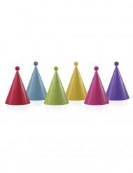 6 Partyhüte mit Bommel