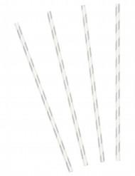 10 Strohhalme mit Silberstreifen
