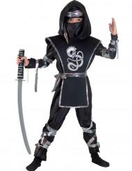 Ninja Kostüm für Jungen schwarz mit Drache