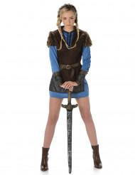 Blaues Wikinger Kostüm für Damen
