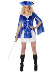 Blaues Musketier Kostüm für Damen