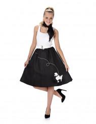 50er Jahre Kostüm für Damen schwarz-weiß mit Pudeldruck