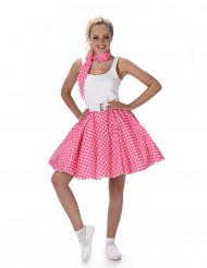 50er Jahre Kostüm für Damen pink-weiß gepunktet Rockabilly