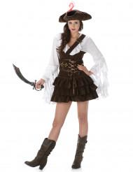 Piratin-Kostüm für Fasching braun-weiss