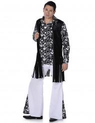 Schwarz-weißes Hippie Kostüm für Herren