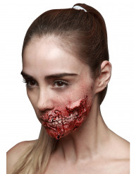 Fleischige Wunde Halloween Make-up Latexapplikation rot 9x7cm