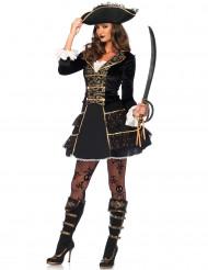 Piraten Kapitänin Kostüm aus Samt Barock gold-schwarz