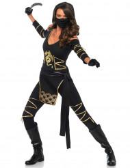 Ninja Kostüm für Damen schwarz-gold