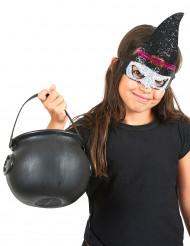 Hexenmaske mit Pailletten für Kinder