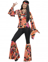Hippie-Kostüm für Frauen schwarz und mehrfarbig