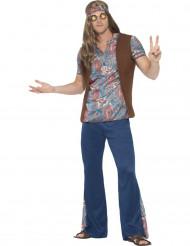 Hippie-Kostüm für Frauen blau und bunt