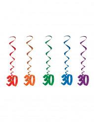 Spiral Hänge-Deko - Zahl 30