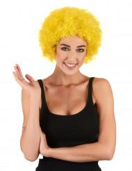Kurze Afro-Perücke Clown gelb für Erwachsene