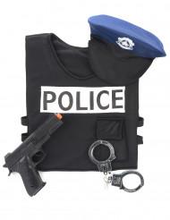 Polizei Zubehör-Set für Kinder schwarz-weiss-blau
