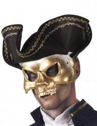 Vergoldete Totenkopf Piraten Maske für Erwachsene