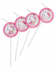 6 Hello Kitty™ Strohhalme mit Pappdeko